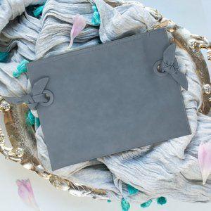 NEIMAN MARCUS Blue Bow Pouch Clutch Bag